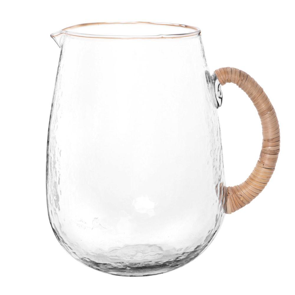 Carafe en verre martelé et raphia 1.8L
