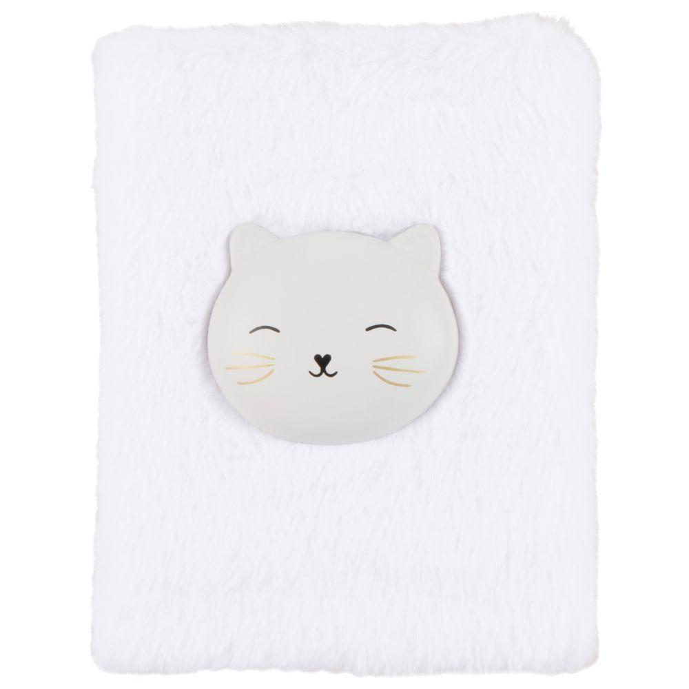 Carnet de notes imitation fausse fourrure blanche motif chat