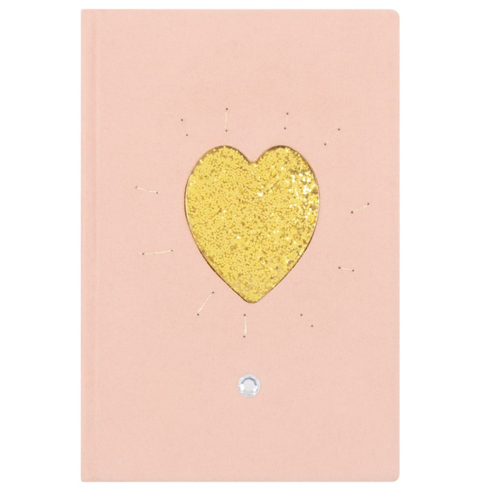 Carnet de notes rose motif cœur à paillettes dorées