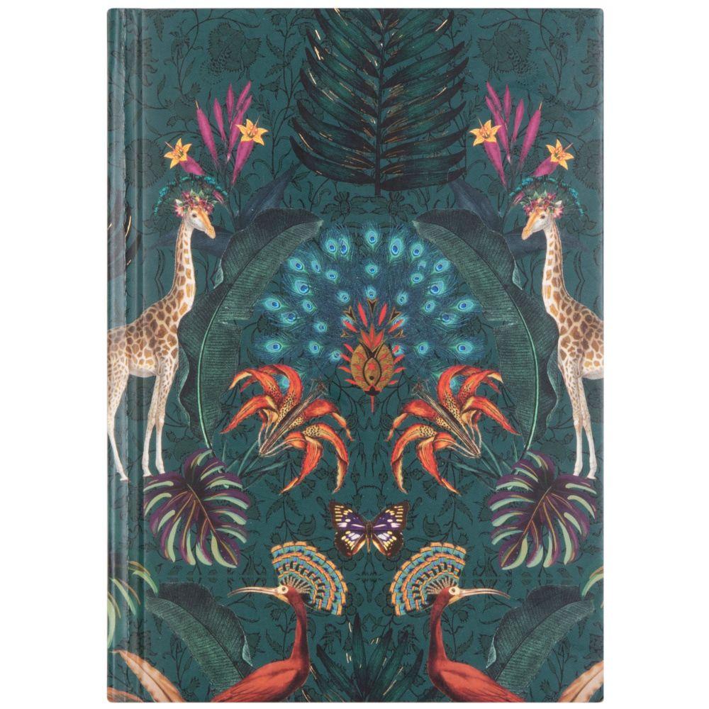 Carnet de notes vert imprimé jungle exotique