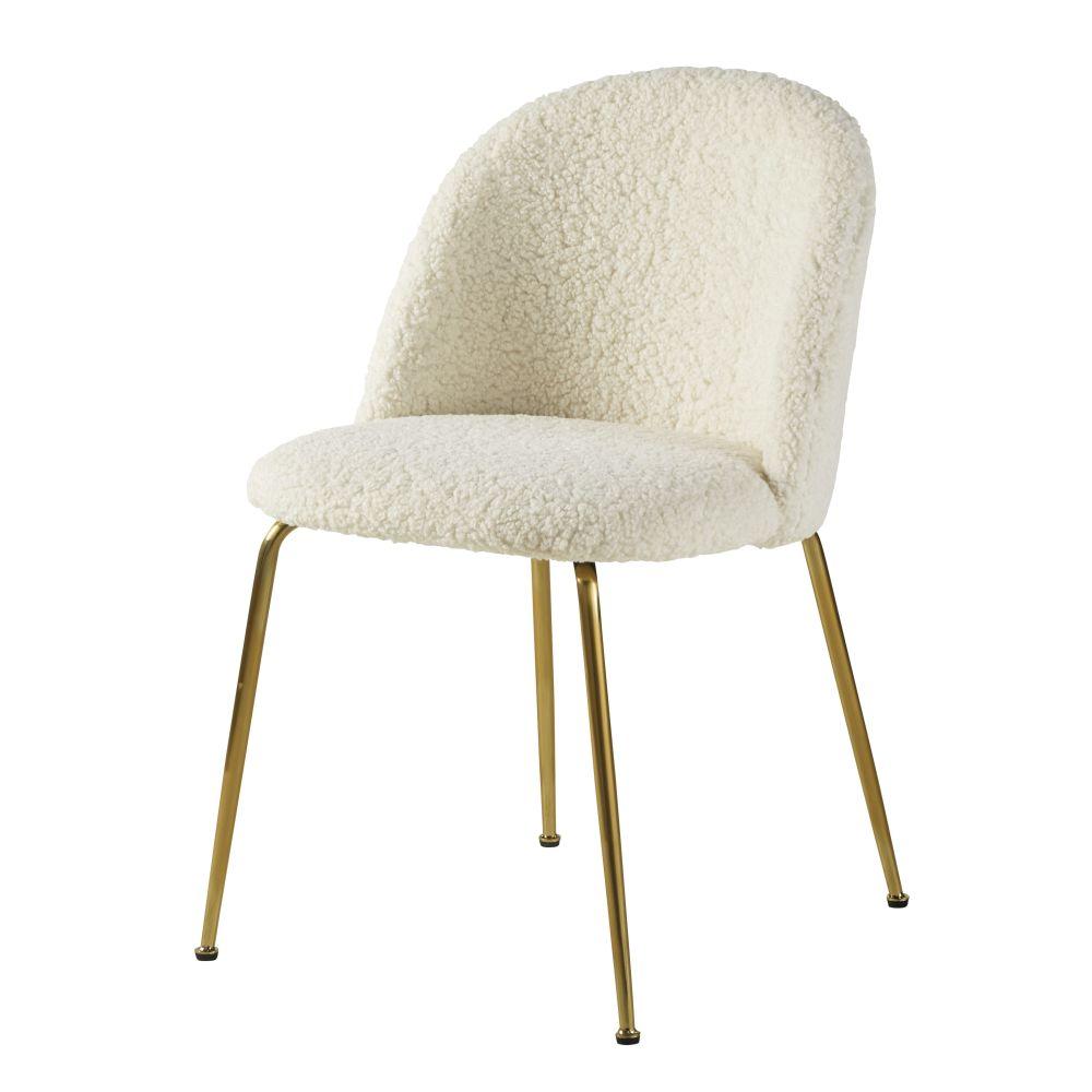 Chaise à Bouclettes Blanches Et Métal Chromé Doré