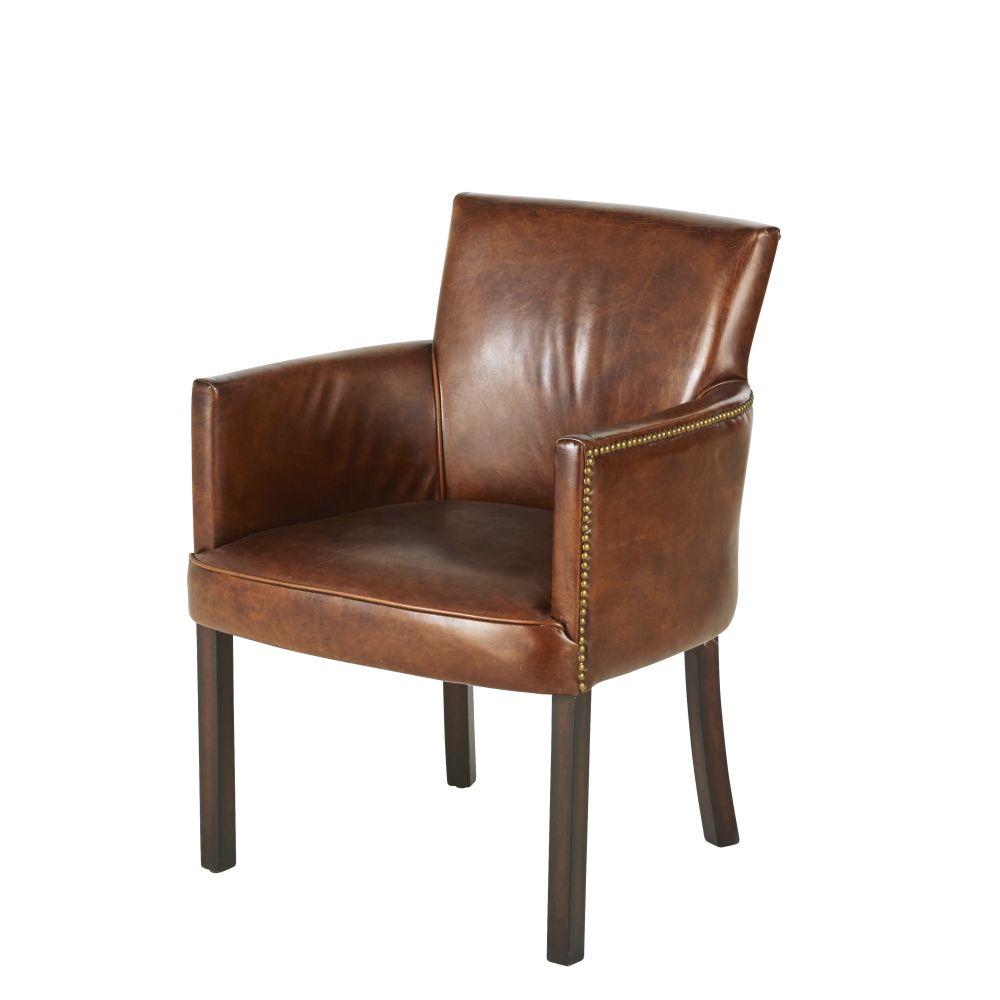 Chaise avec accoudoirs en cuir de vachette marron vieilli