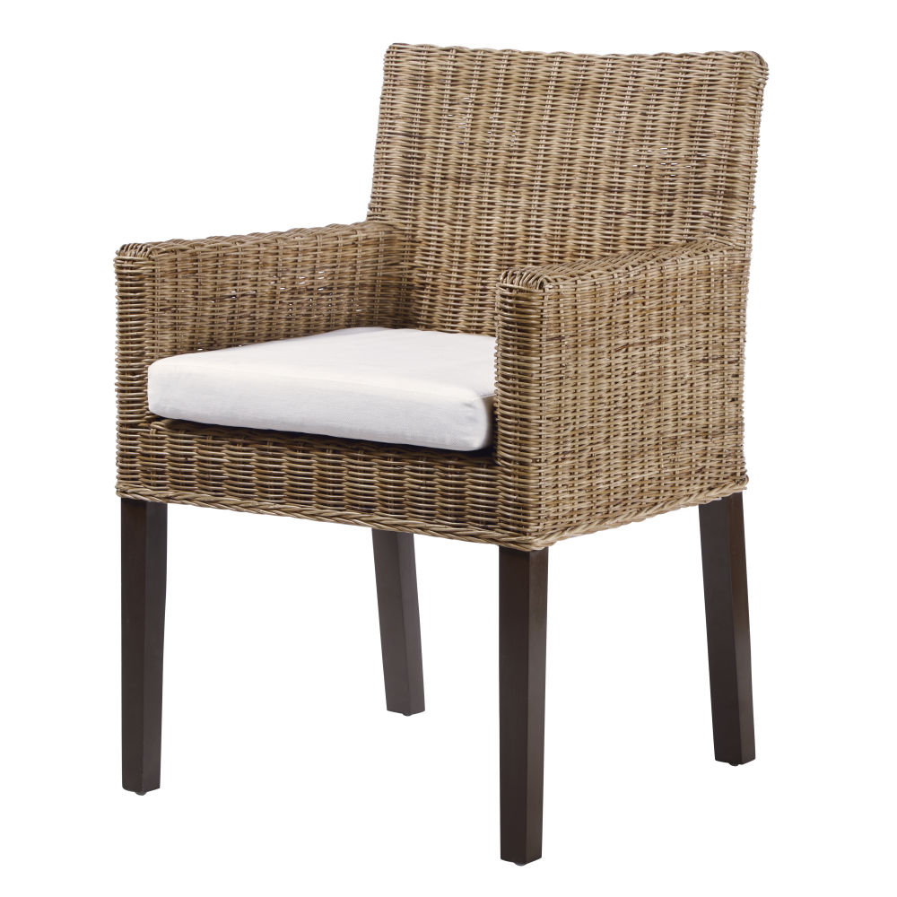 Chaise avec accoudoirs en rotin et pin