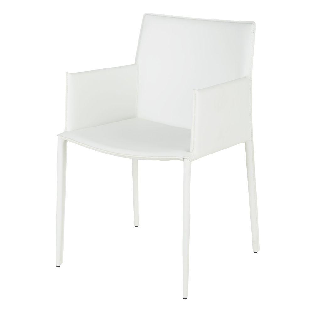 Chaise avec accoudoirs en synderme blanc