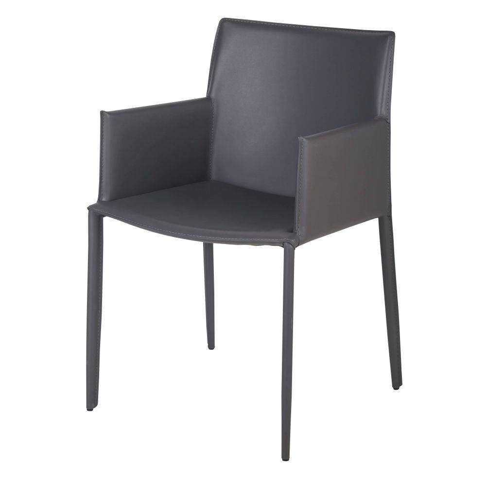 Chaise avec accoudoirs en synderme gris