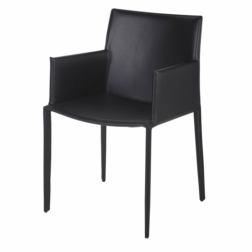Chaise avec accoudoirs en synderme noir