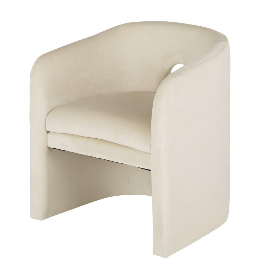 Chaise avec accoudoirs en velours beige