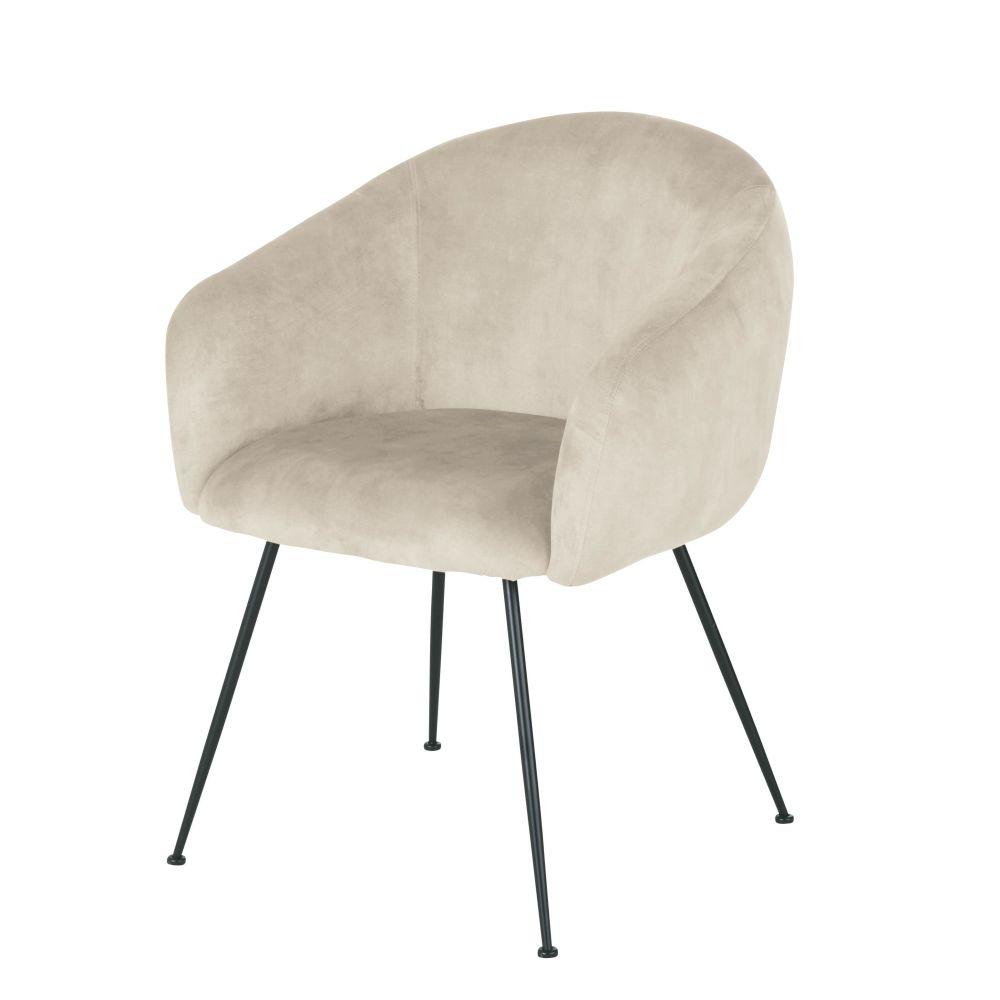 Chaise avec accoudoirs en velours beige cappuccino