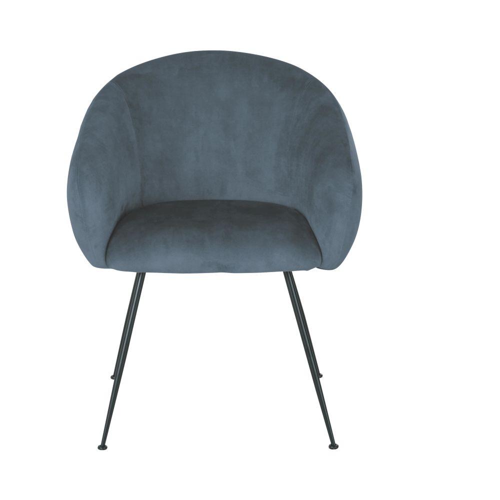 Chaise avec accoudoirs en velours bleu