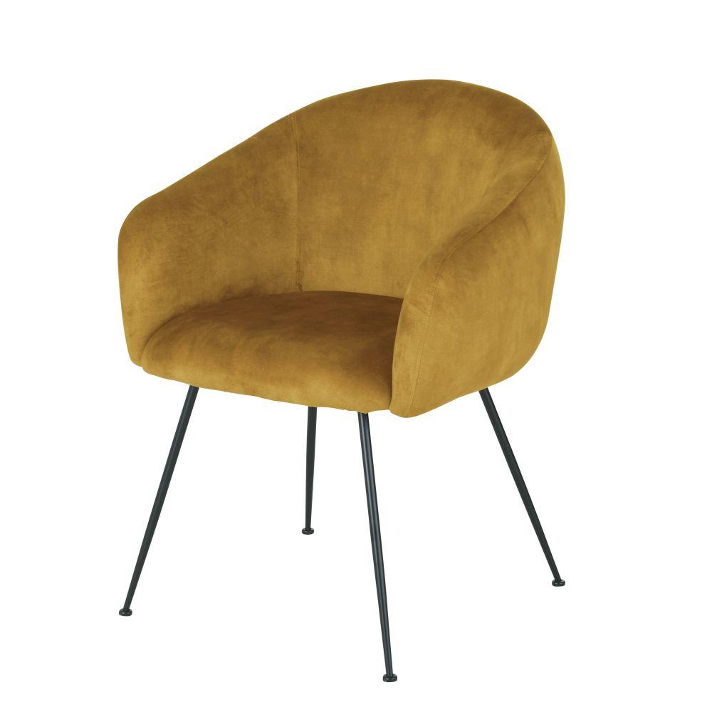 Chaise avec accoudoirs en velours ocre