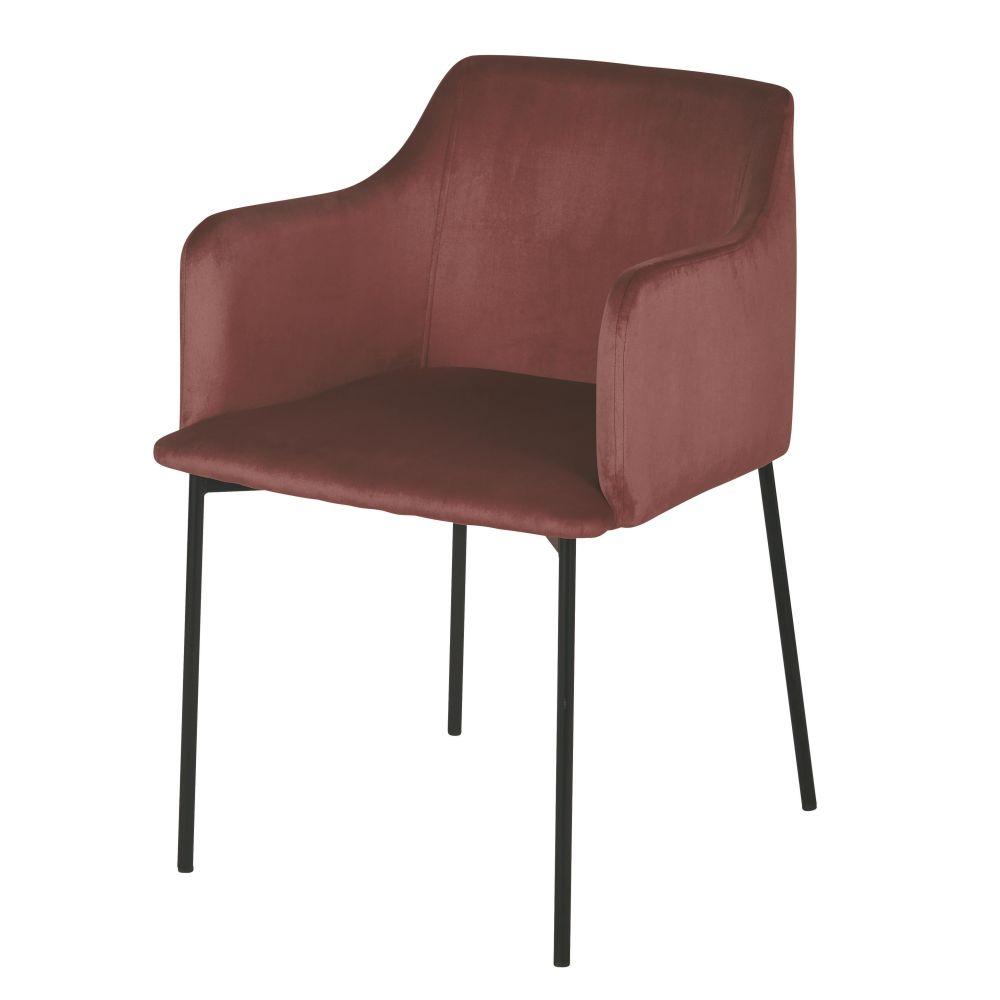 Chaise avec accoudoirs en velours terracotta