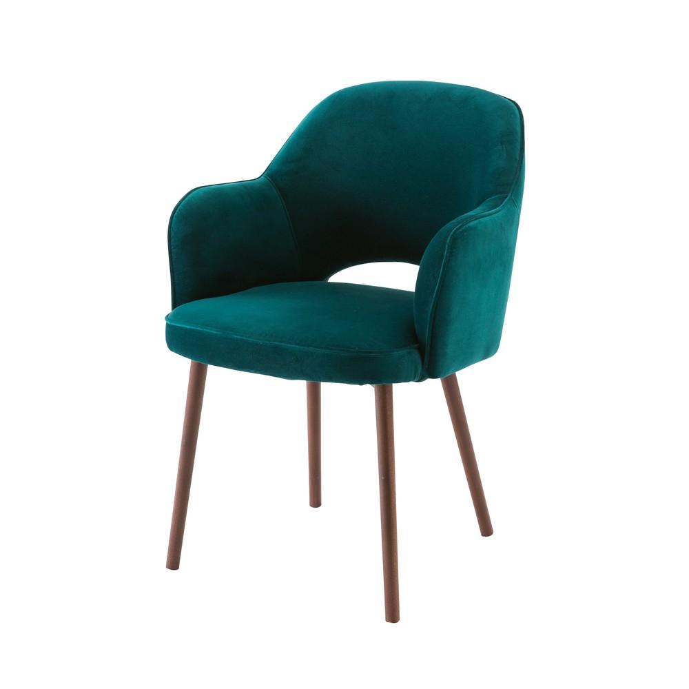 Chaise avec accoudoirs en velours vert sapin