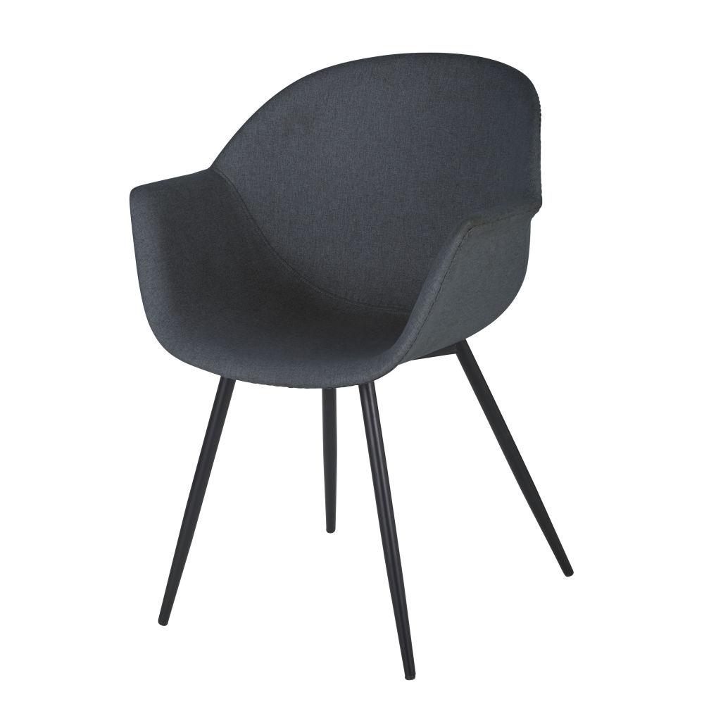 Chaise avec accoudoirs gris foncé