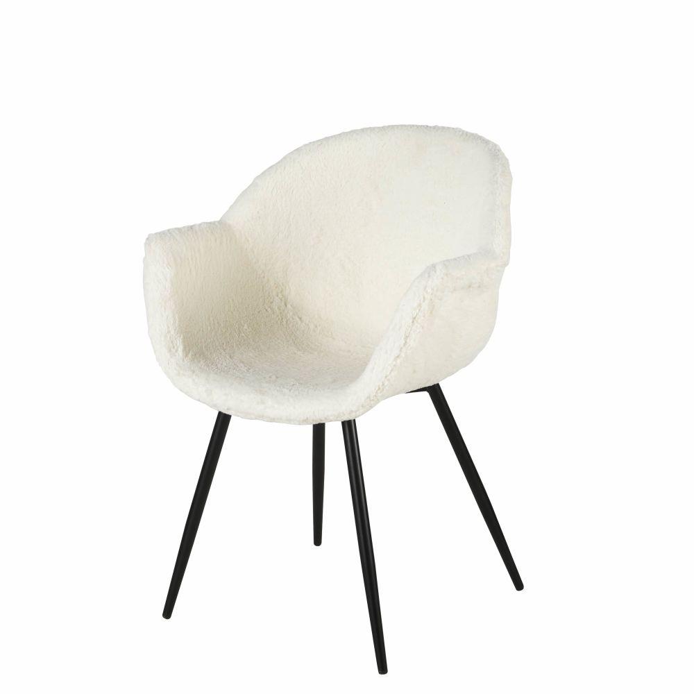 Chaise avec accoudoirs imitation fourrure blanche
