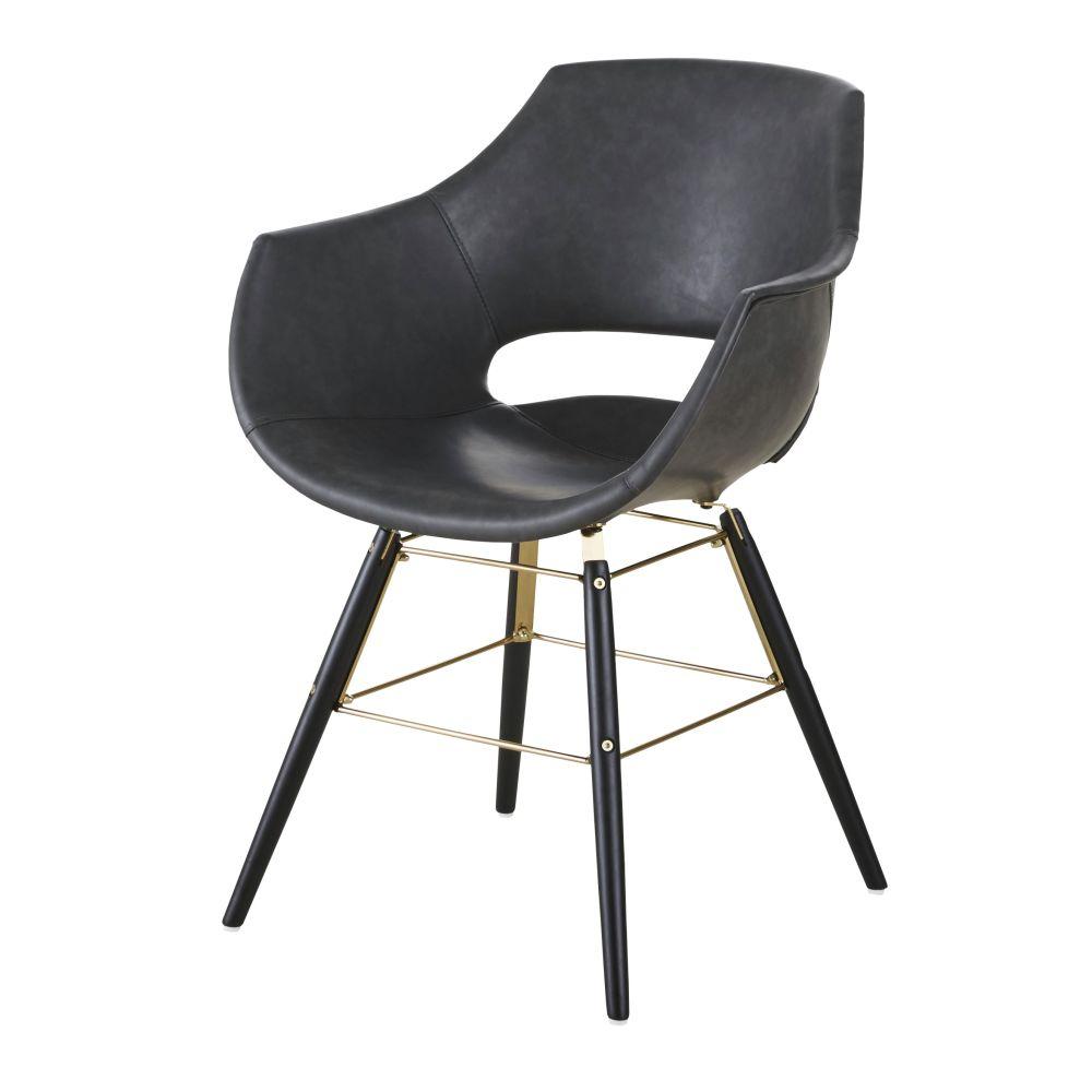 Chaise avec accoudoirs noir imitation cuir vieilli