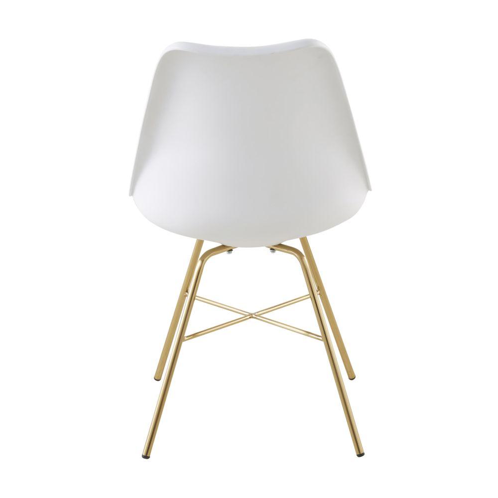 Chaise blanche et pieds en métal chromé doré