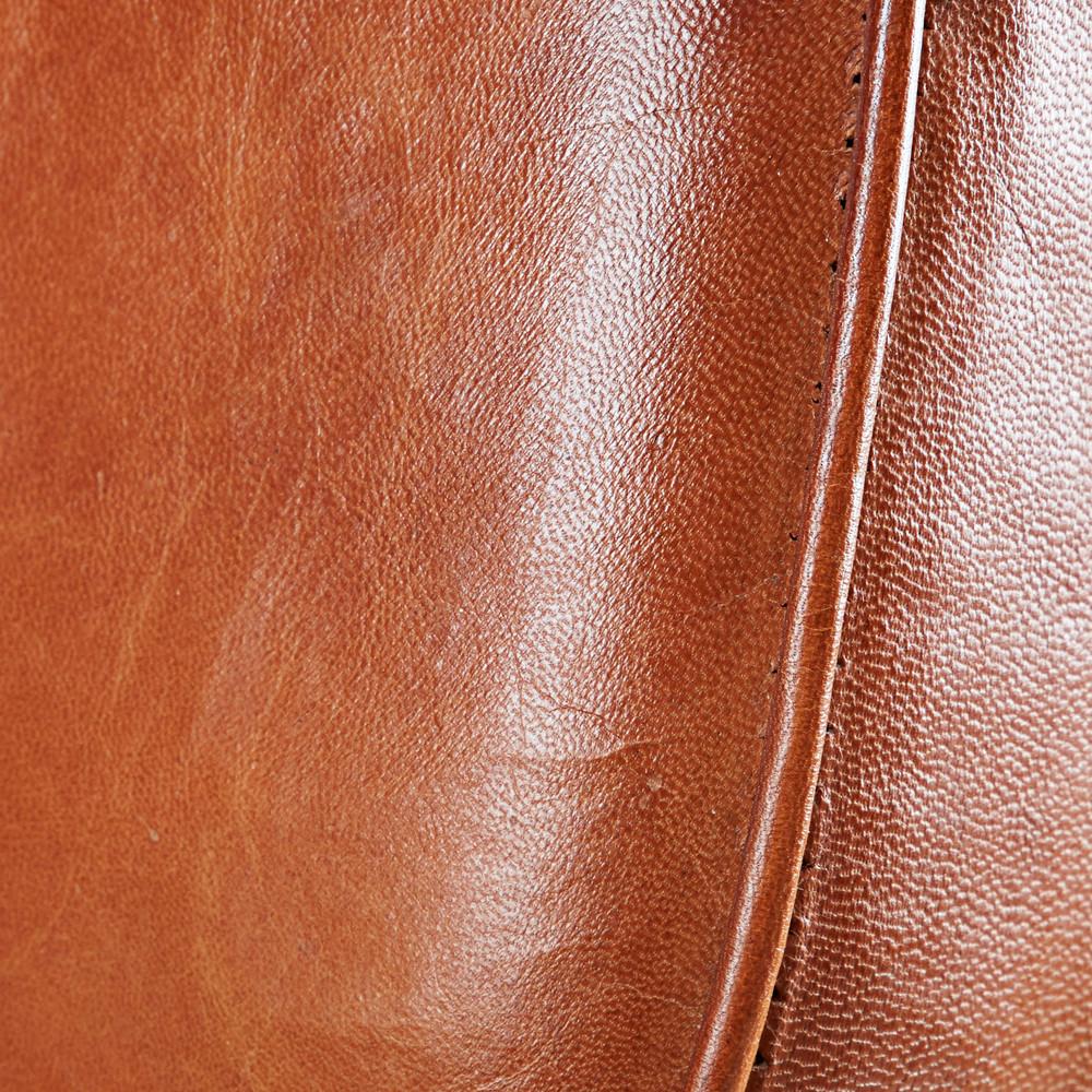 Chaise de bar en cuir de chèvre marron et métal noir