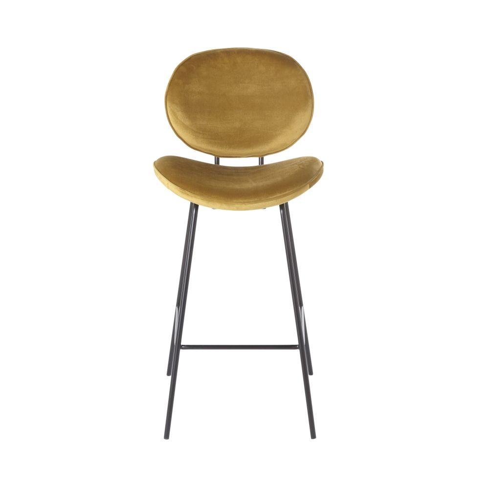 Chaise de bar en velours ocre et métal noir