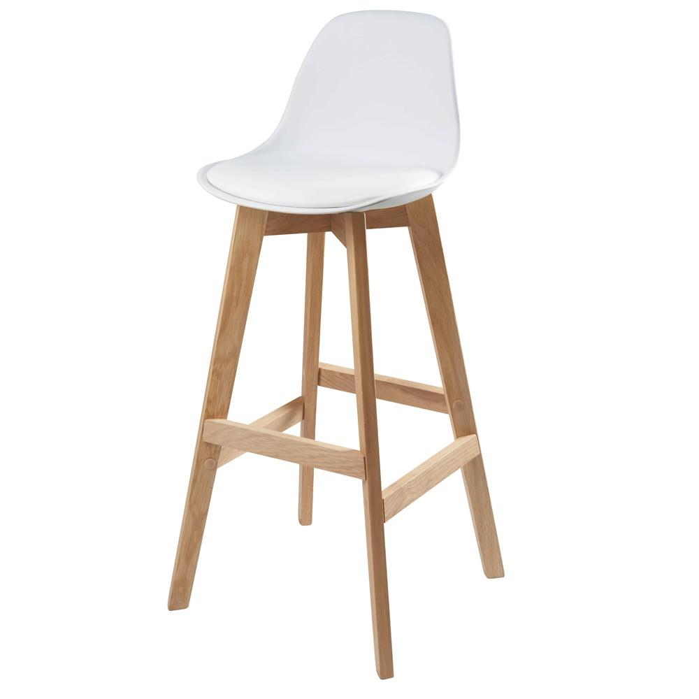 Chaise de bar style scandinave blanche et chêne