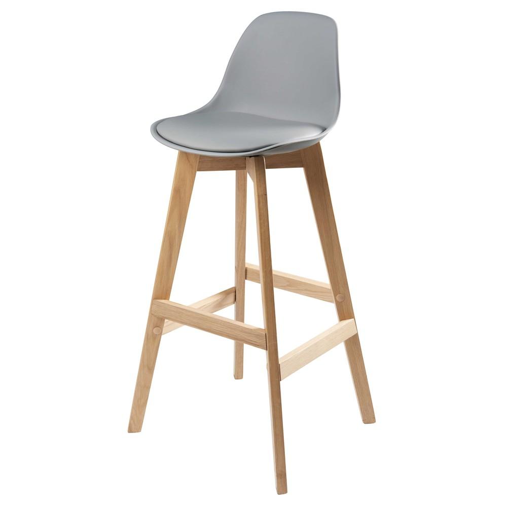 Chaise de bar style scandinave grise et chêne