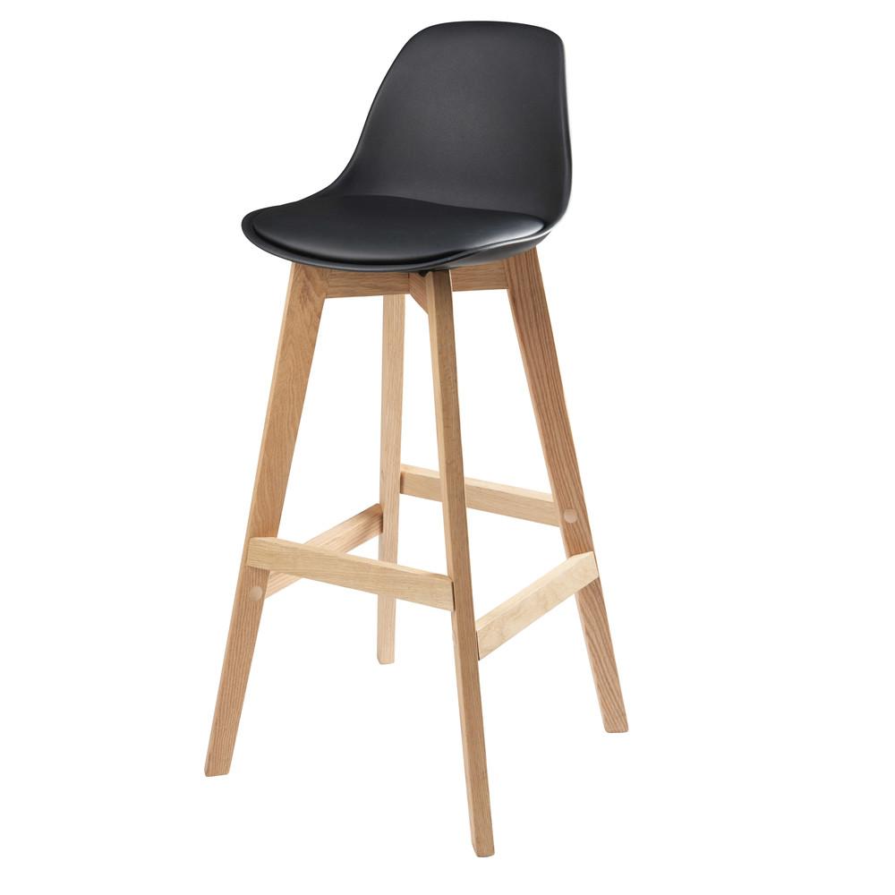 Chaise de bar style scandinave noire et chêne massif