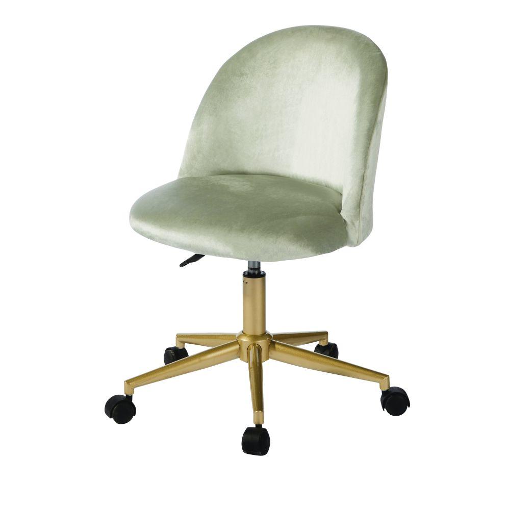 Chaise de bureau à roulettes en velours vert et métal coloris laiton