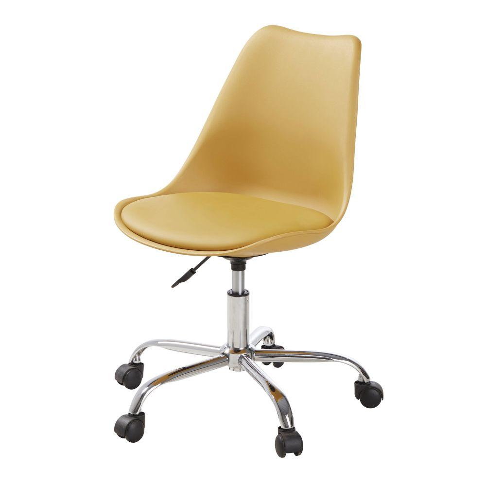 Chaise de bureau à roulettes ocre
