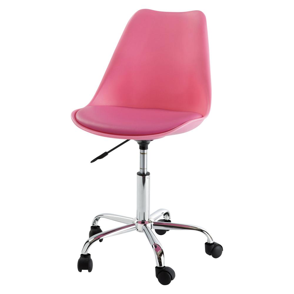 Chaise de bureau à roulettes rose