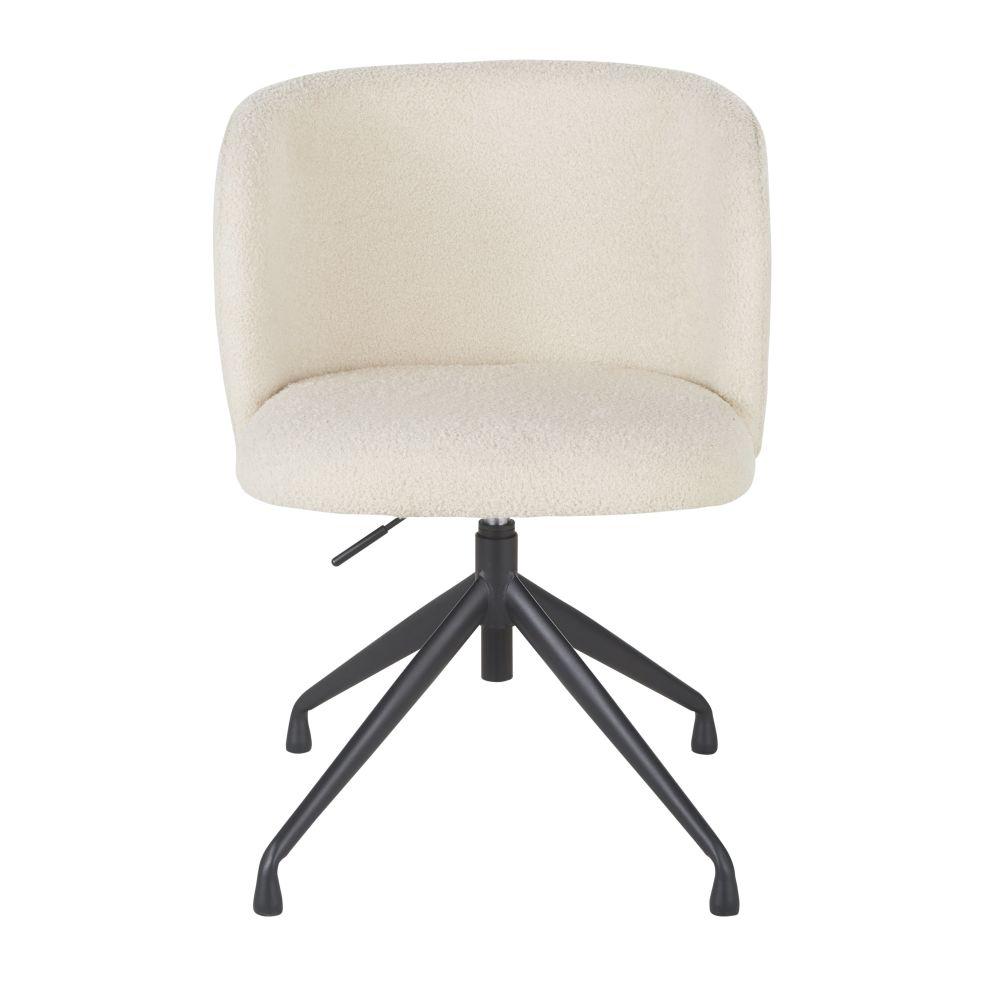 Chaise de bureau pivotante à bouclettes blanches