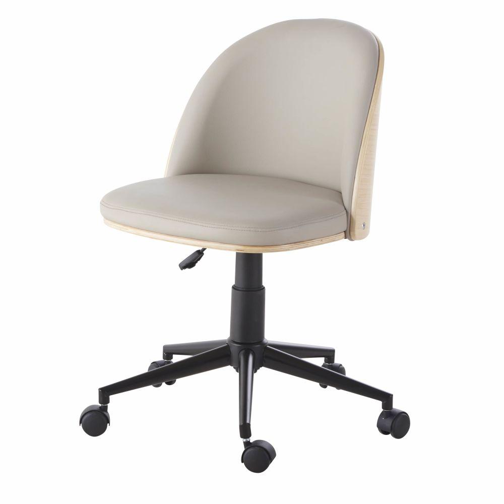 Chaise de bureau réglable à roulettes en textile enduit gris