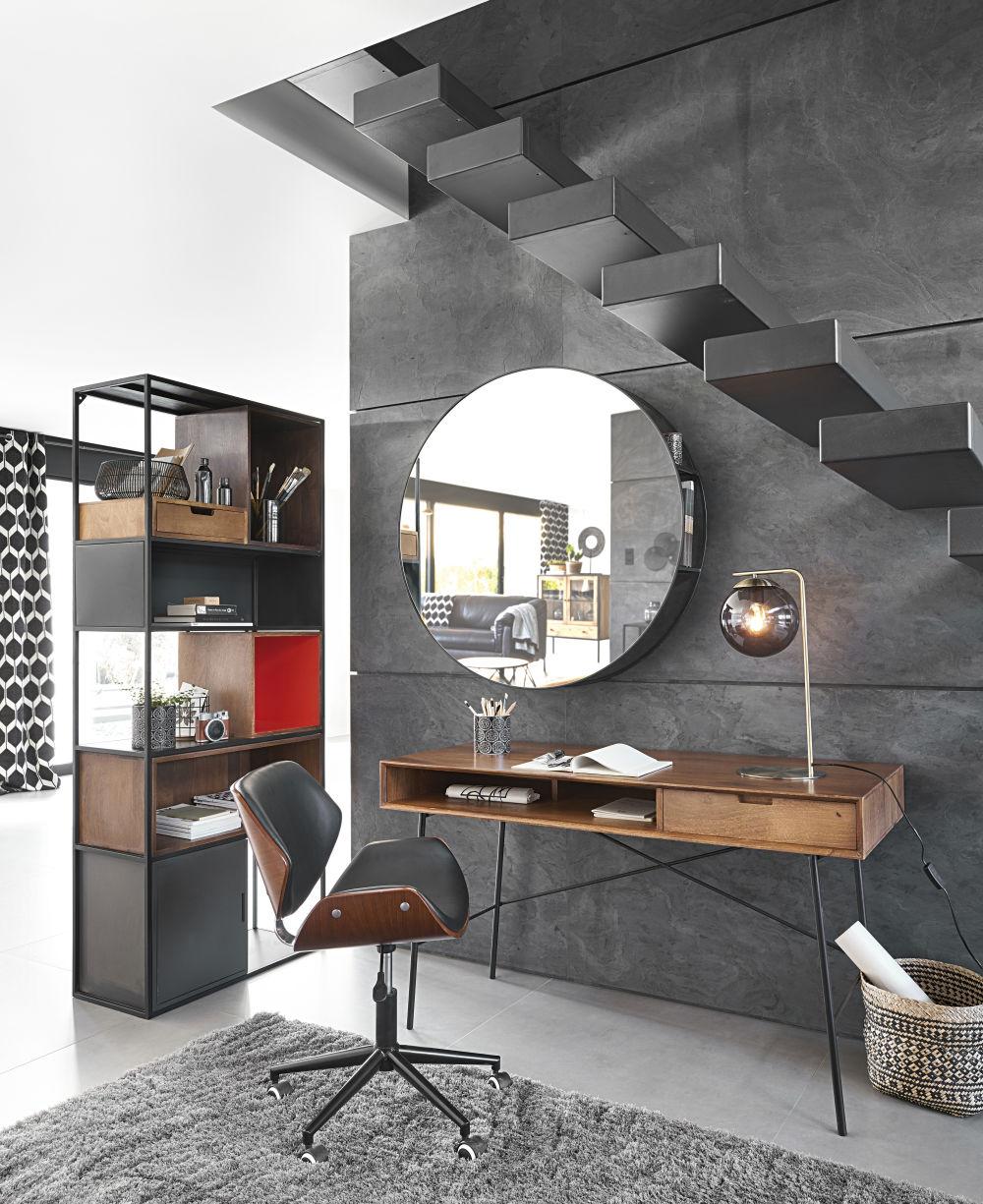Chaise de bureau réglable à roulettes imitation cuir