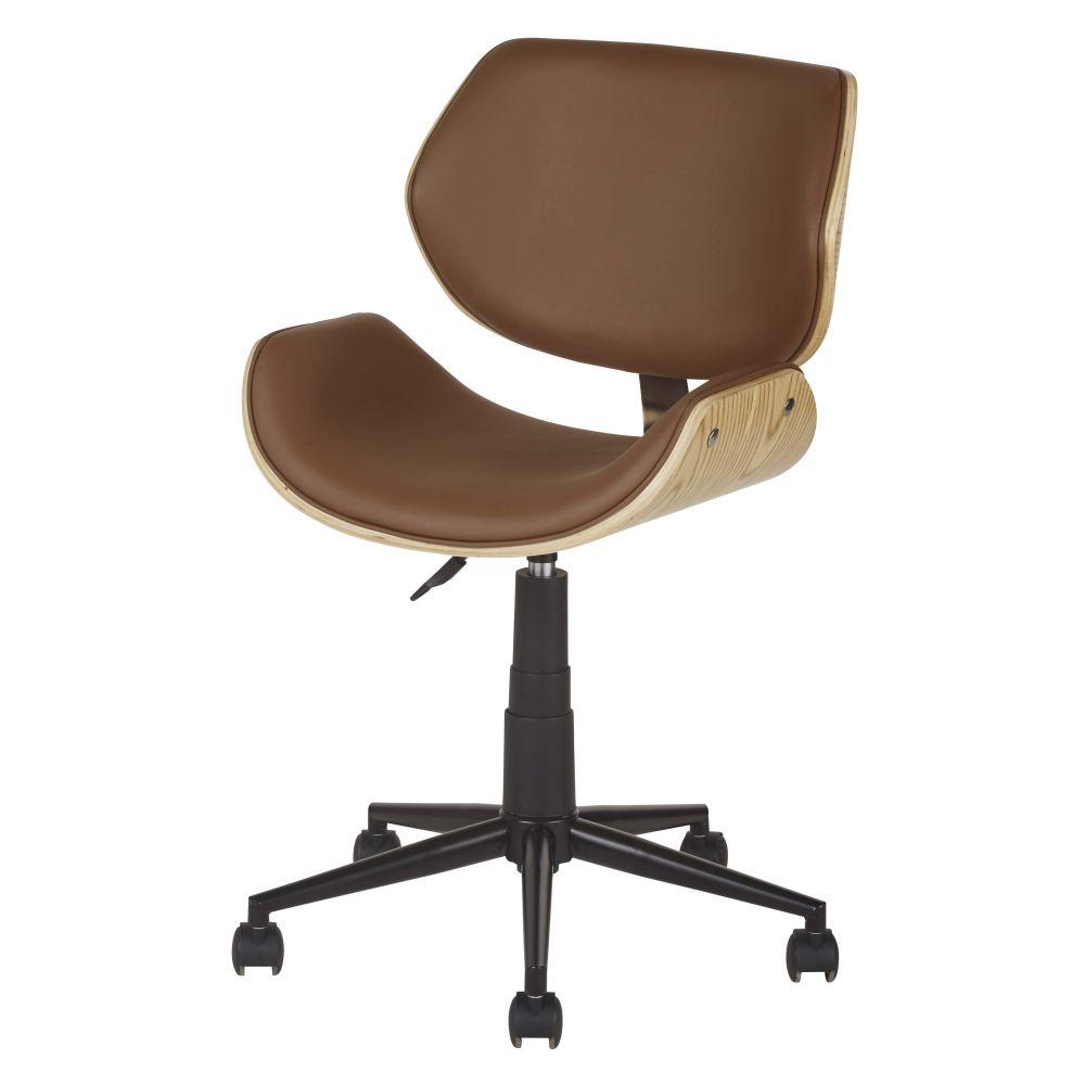 Chaise de bureau réglable à roulettes marron