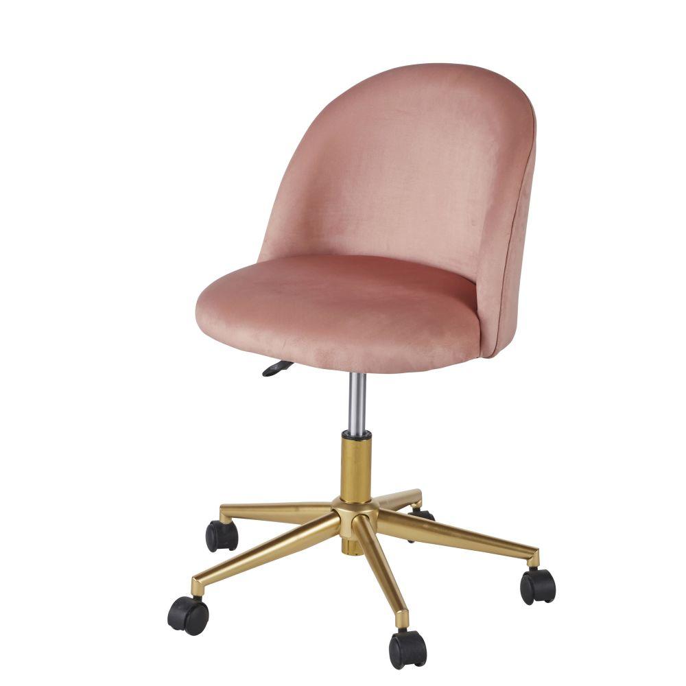 Chaise de bureau vintage à roulettes en velours rose