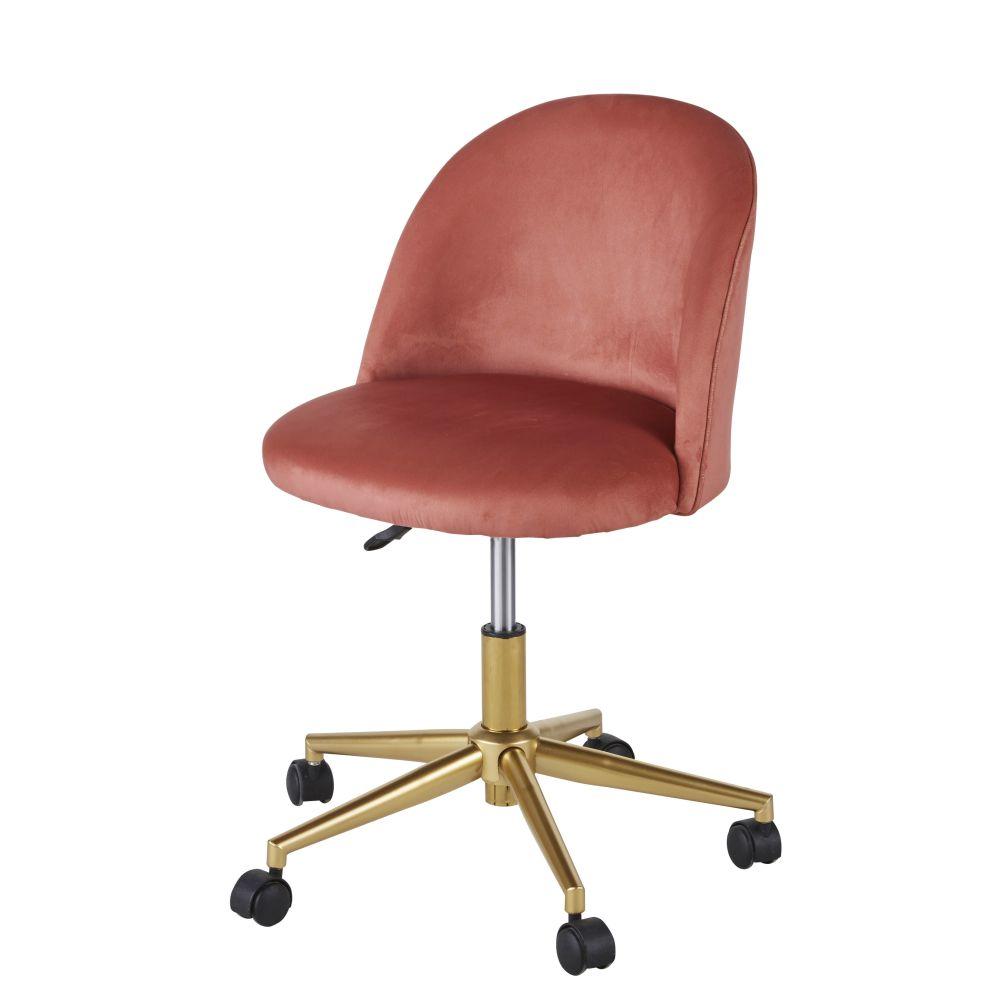 Chaise de bureau vintage à roulettes en velours terracotta