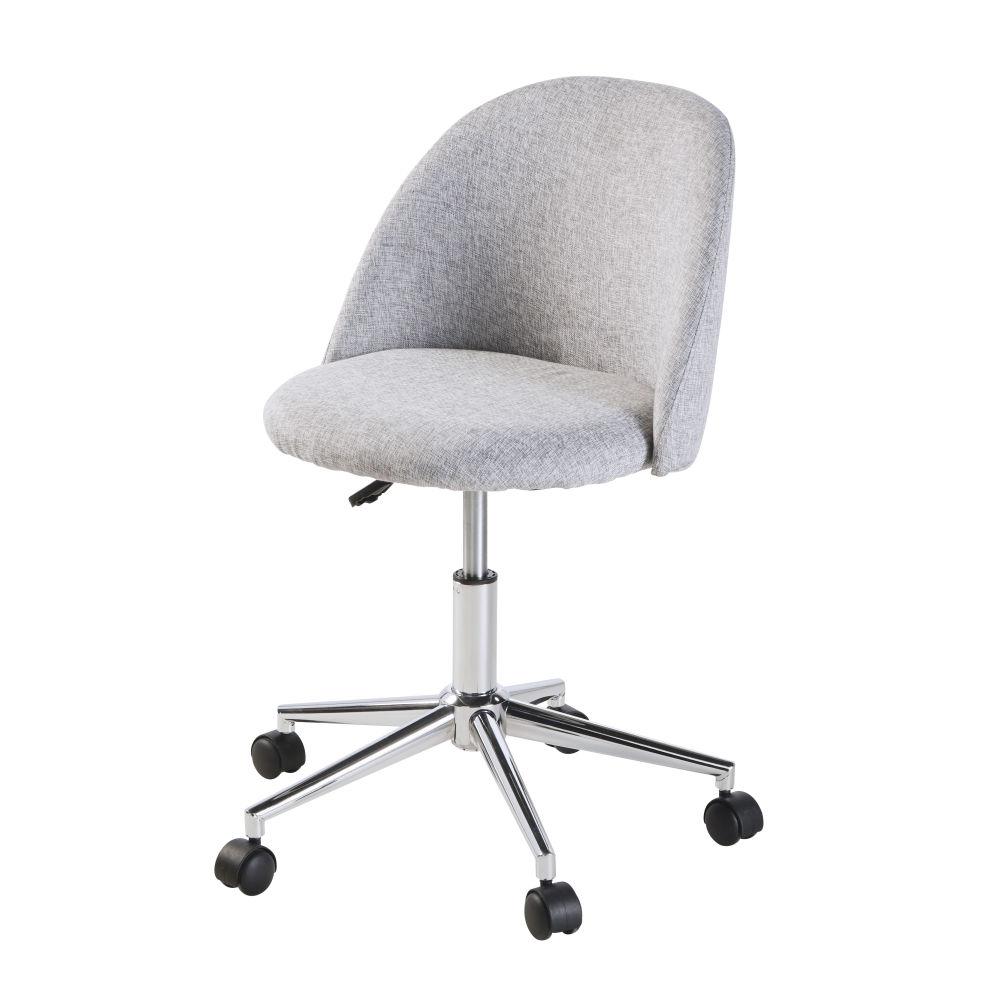 Chaise de bureau vintage à roulettes grise