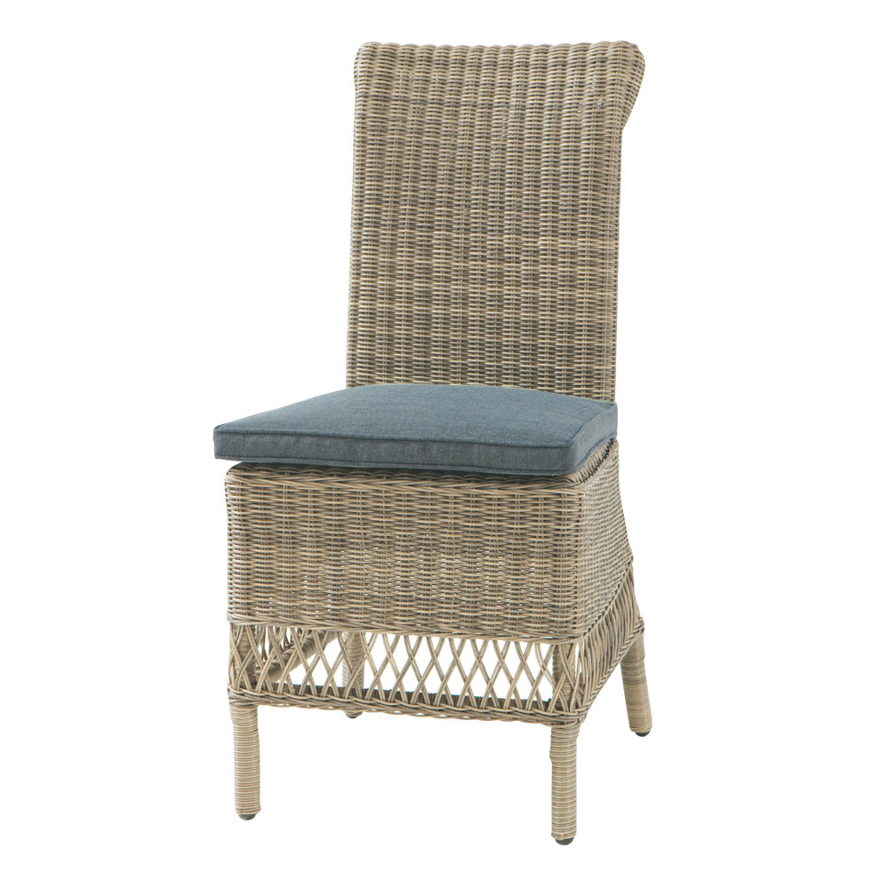 Chaise de jardin + coussin en résine tressée et tissu grise