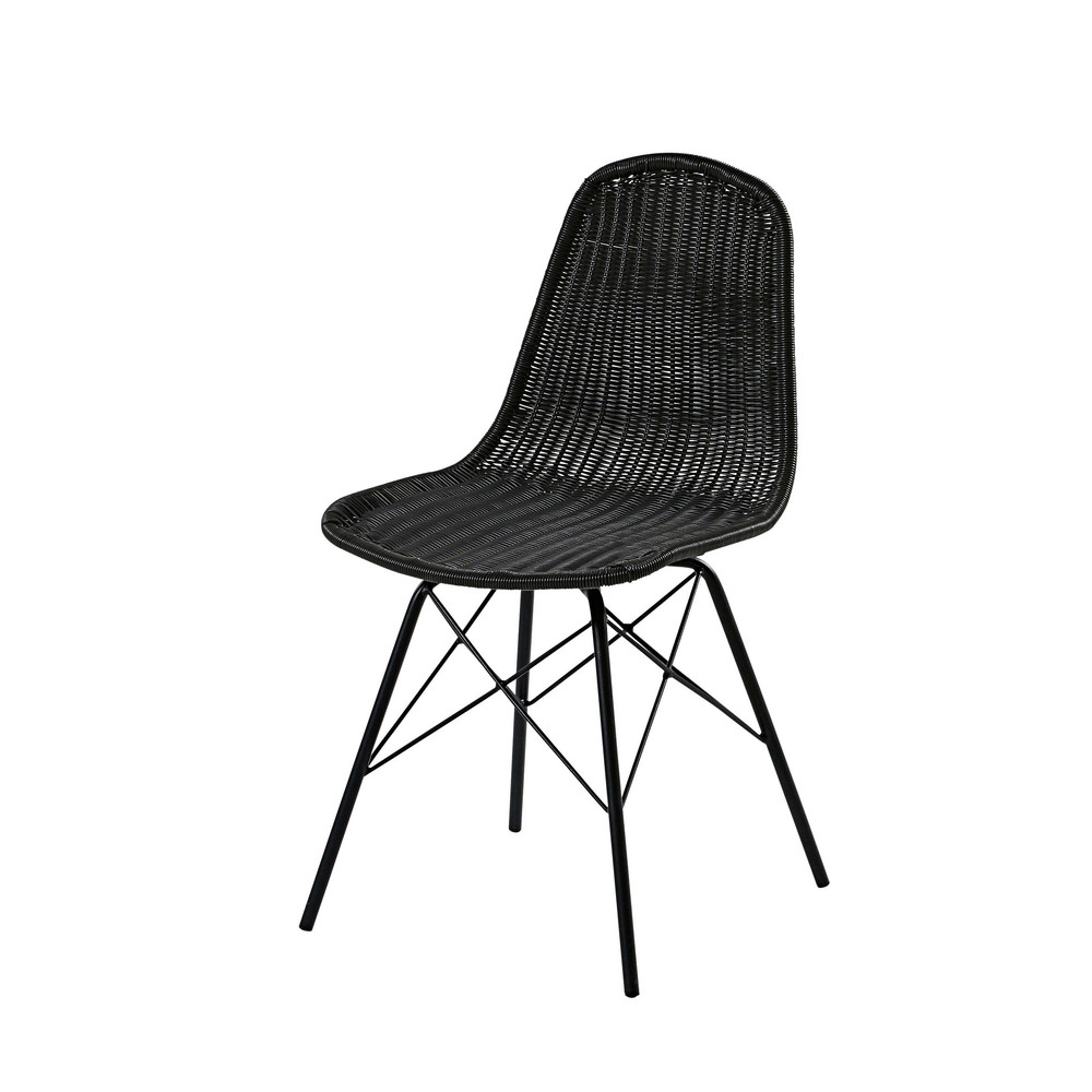 Chaise de jardin en acier et résine tressée noire
