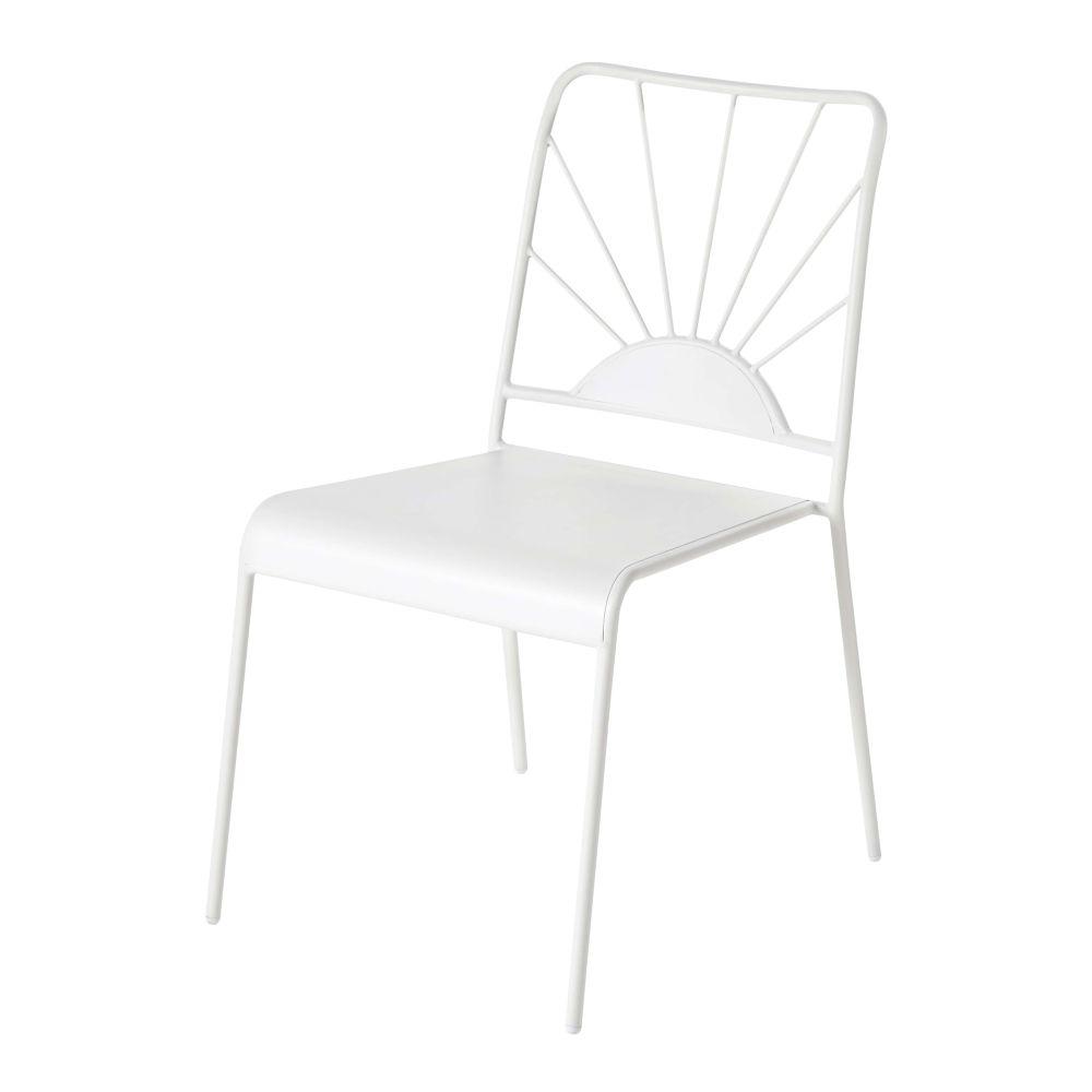Chaise de jardin en métal blanc mat