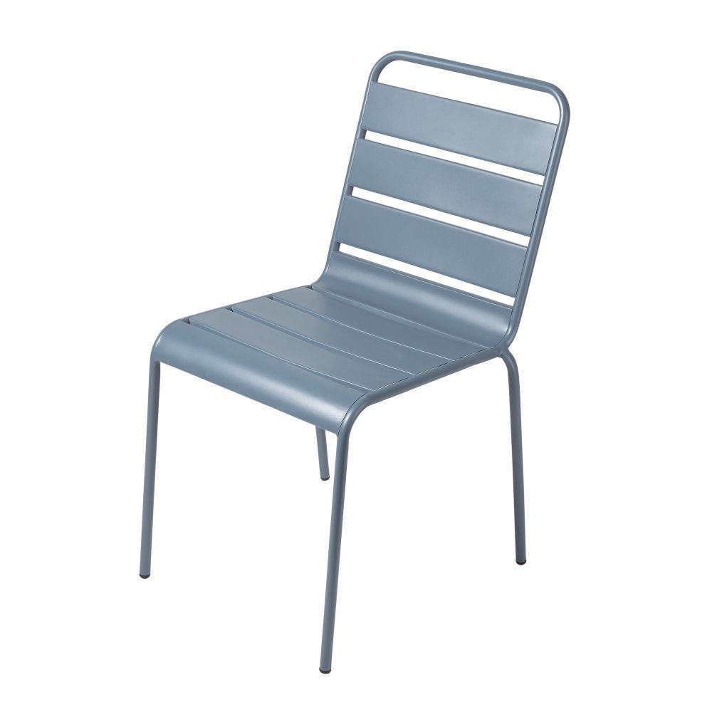 Chaise De Jardin En Métal Bleu Gris