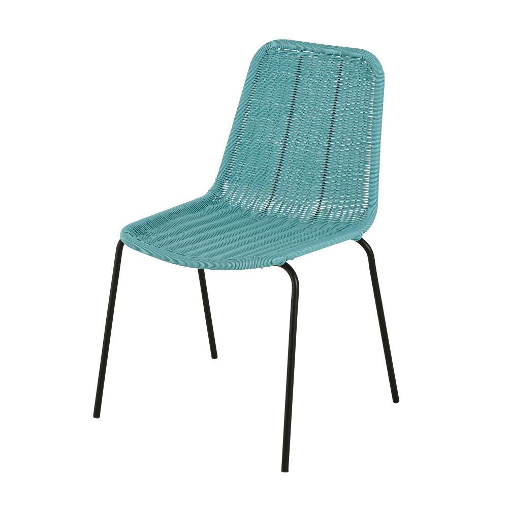 Chaise de jardin en résine bleu turquoise et métal noir