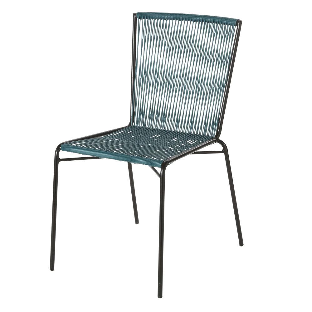 Chaise de jardin en résine bleue et métal noir