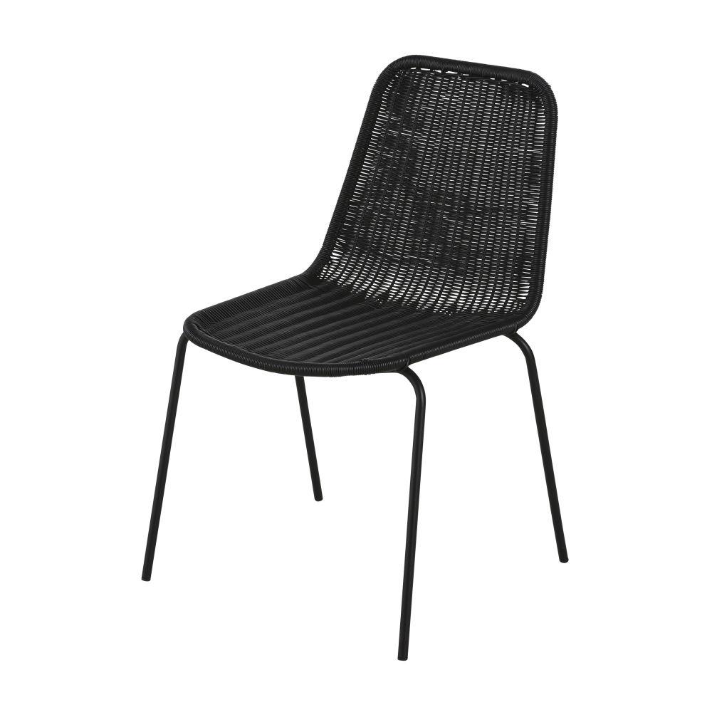 Chaise De Jardin En Résine Et Métal Noirs