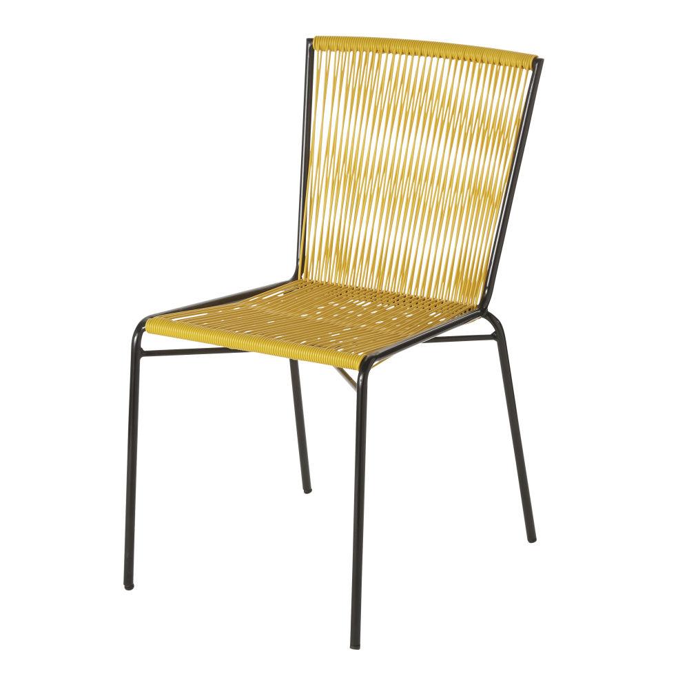 Chaise de jardin en résine jaune et métal noir