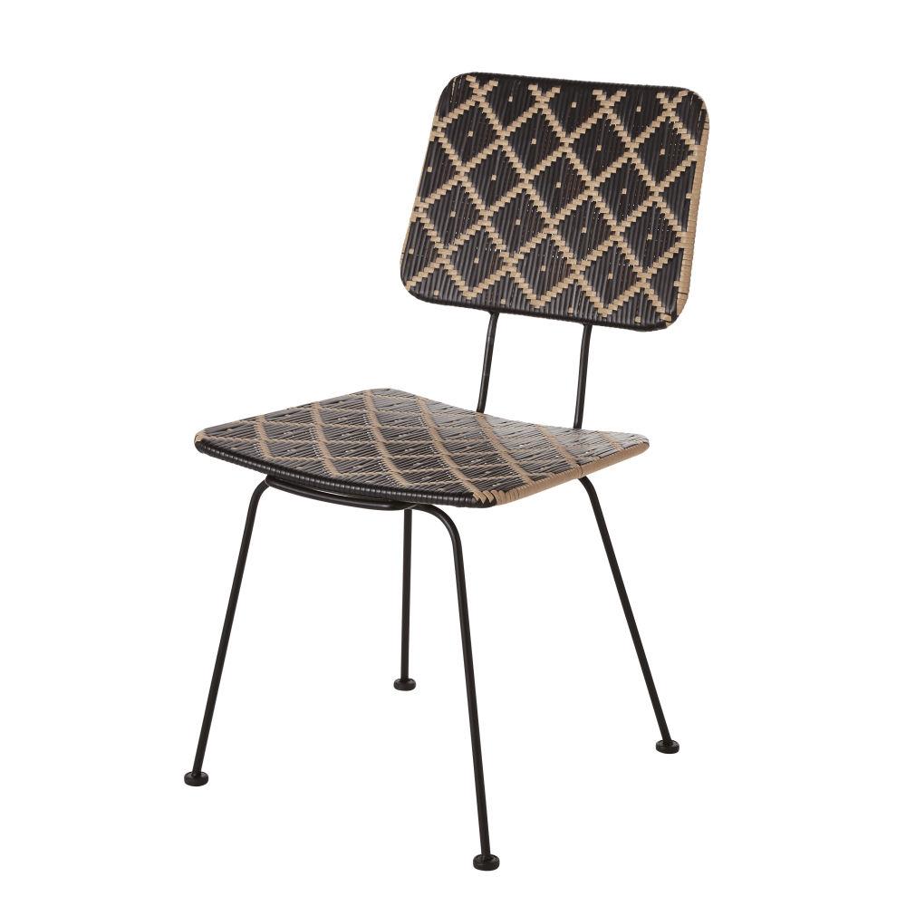 Chaise de jardin en résine motifs coloris noir et imitation rotin