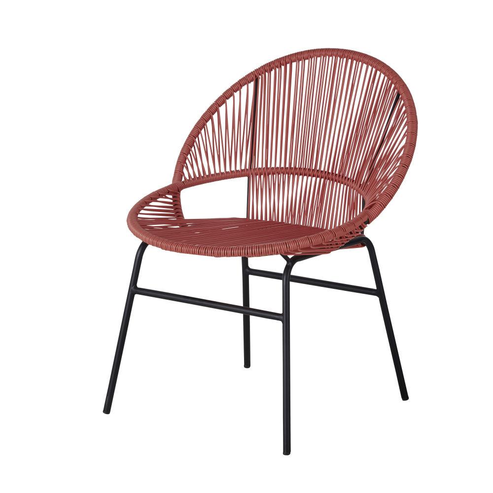 Chaise de jardin en résine terracotta et métal noir