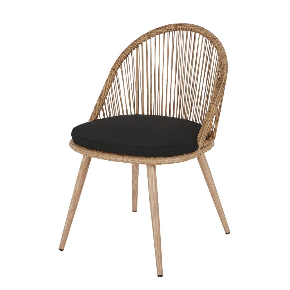 Chaise de jardin en résine tressée coloris naturel et métal imitation bois