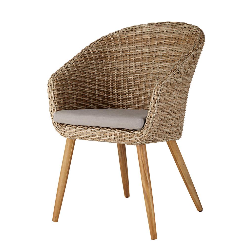 Chaise de jardin en résine tressée et acacia massif