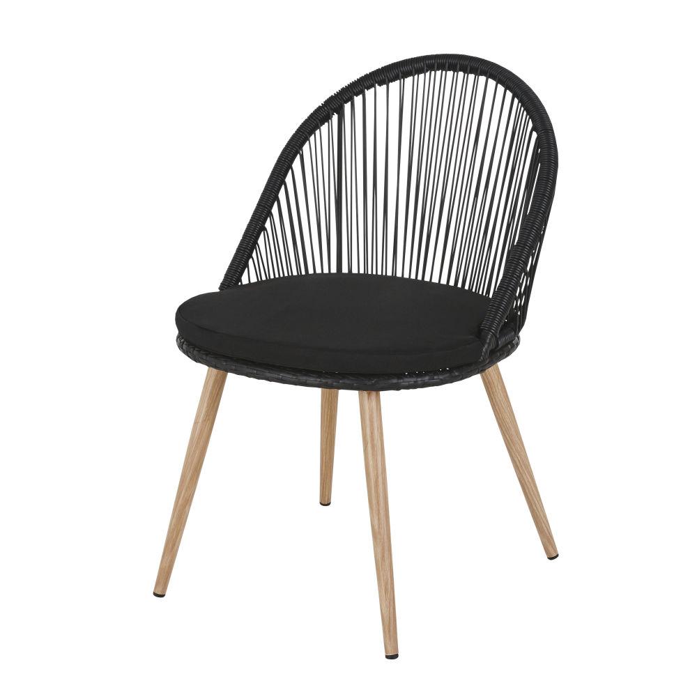 Chaise de jardin en résine tressée noire et métal imitation bois
