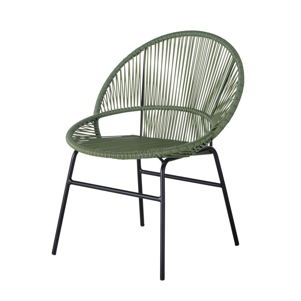 Chaise De Jardin En Résine Vert Kaki Et Métal Noir