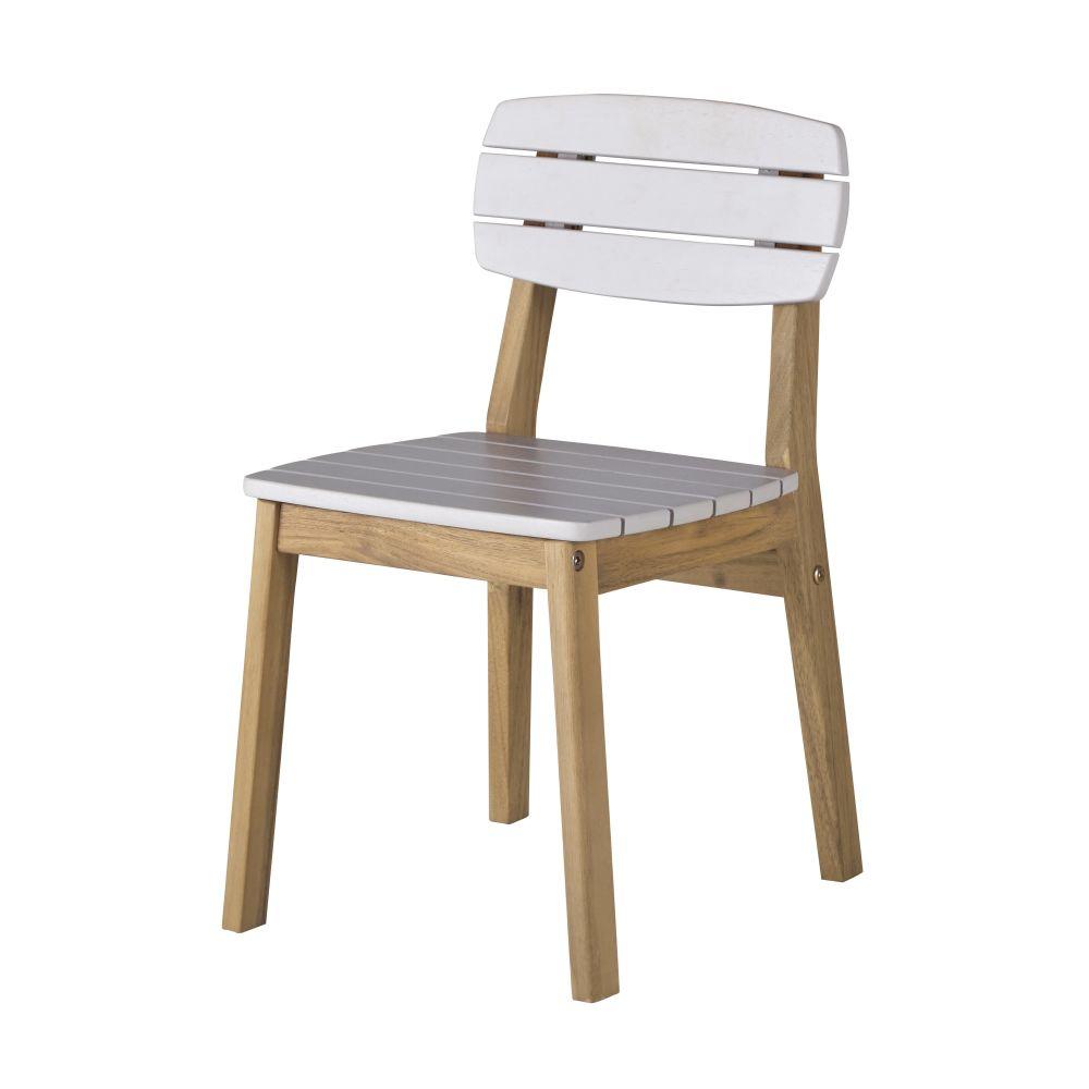 Chaise de jardin enfant en acacia massif gris clair